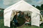 Iya Sako's djembe class in one of the smaller tents |