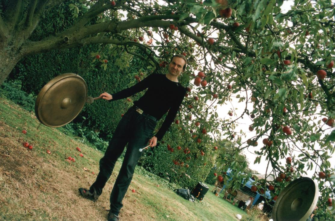 Malc playing the gong tree, photo by diagonal Dafna Dori ]