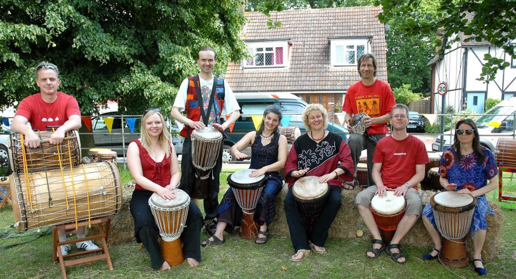 [ Secret Bass drumming group at Little Berkhamsted, photo by David Cory ]
