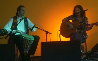 [ Malc drumming with Ruth singing at Triangle Festival  