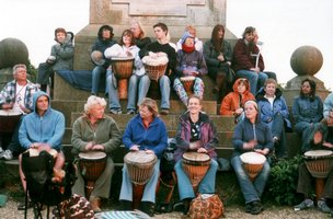 Vitae Drummers atop Coombe Hill monument |