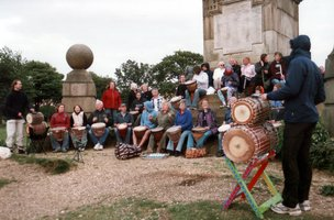 [ Vitae Drummers performing at Coombe Hill war memorial |