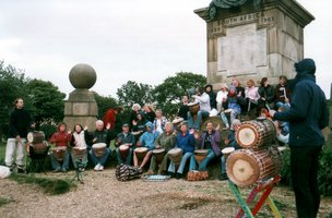 Vitae Drummers performing Yankadi at Coombe Hill war memorial |