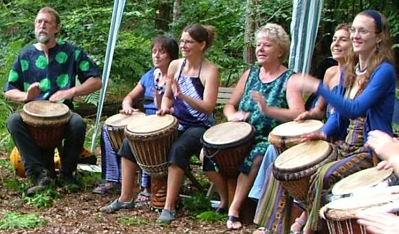 [ Vitae Drummers in Penn Woods, photo by Sasha Bradbury ]