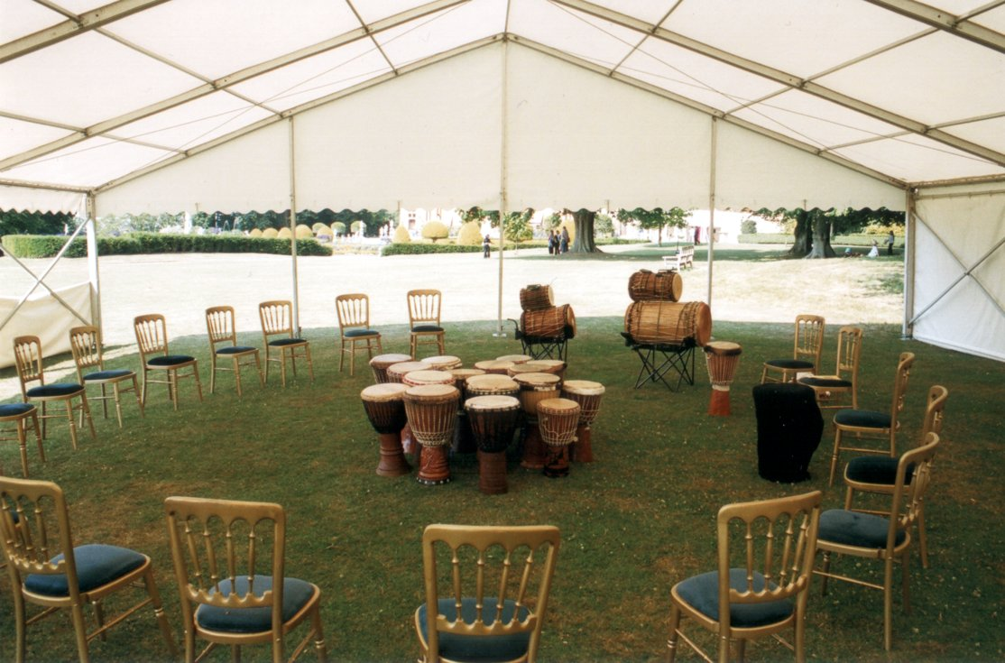 [ Circle of drums at Waddesdon Manor: just add children :-) ]