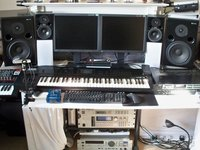 [ Studio workstation with APS Aeons and Fostex PM0.4 monitors ]