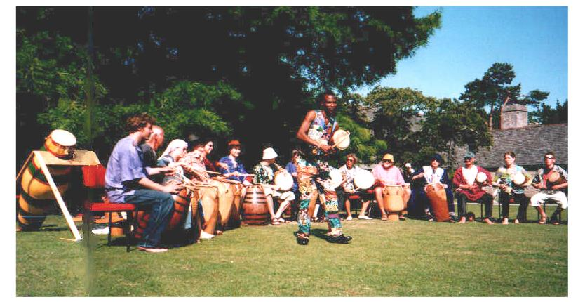 Performing Ghanaian drum music of the Ashanti Court at Dartington |