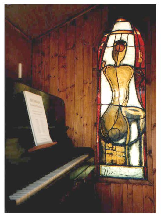 Giorgio's Shed with his stained glass memorial window and piano, 1999