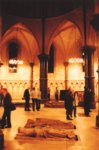 The living and the dead congregate in the round Nave in Temple Church |