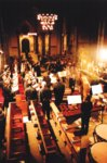 Applause for the orchestra viewed from the pulpit in Temple Church |