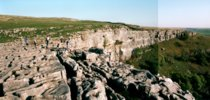 Humans discovering the limestone pavement at Malham Cove |