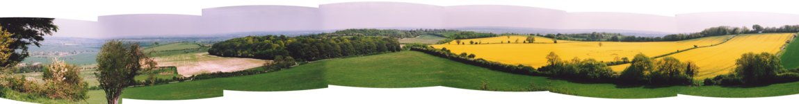 [ Crop Circle panorama looking east toward Hitchin from Deacon Hill ]